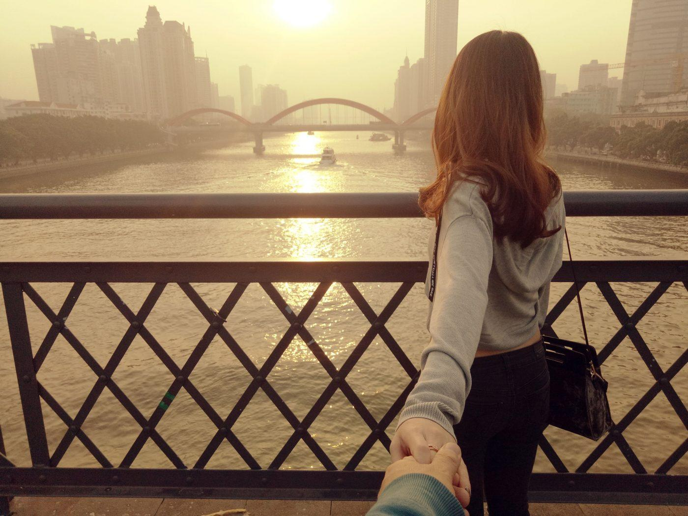 guangzhou bridge hold hands female