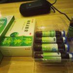 chinese medication green glass capsules