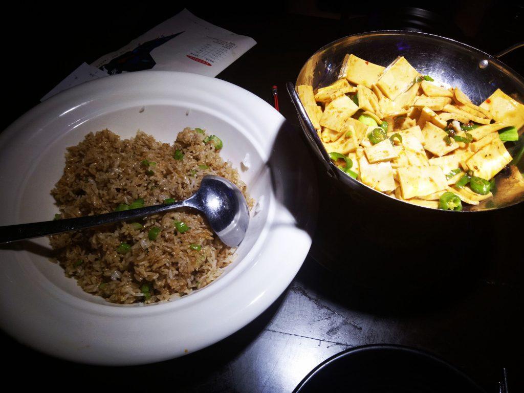 restaurant food Chinese tofu and rice