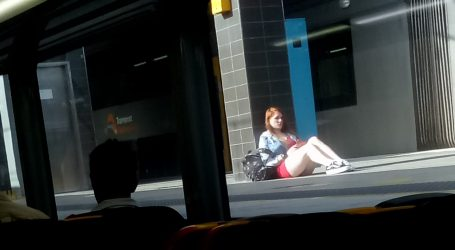 Girl Outside The Sydney Train