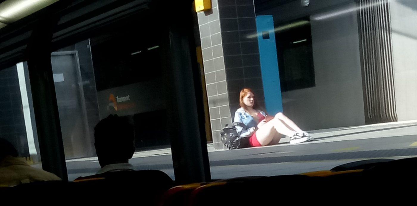 Girl Outside The Sydney Train
