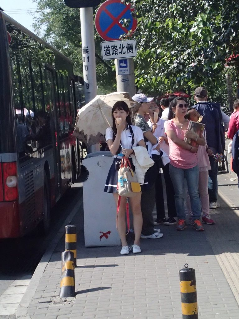 Chinese cosplay girl holding umbrella in China