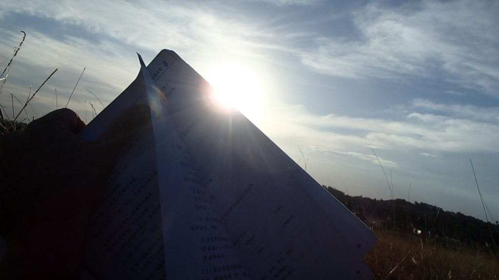 Chinese characters book in sunshine