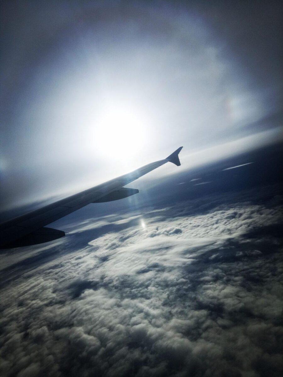 airplane flight clouds