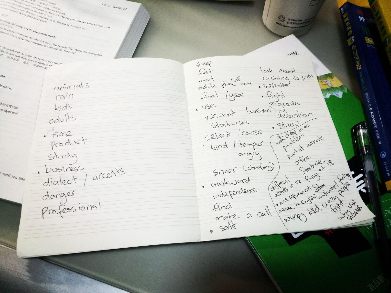 study class lesson book new words